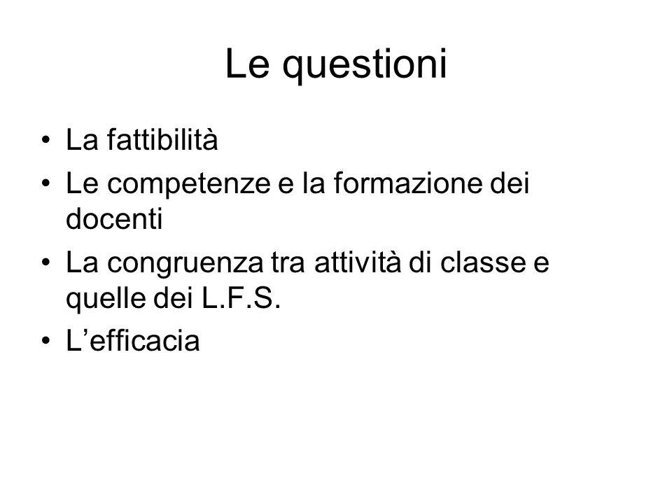 Le questioni La fattibilità Le competenze e la formazione dei docenti La congruenza tra attività di classe e quelle dei L.F.S. Lefficacia