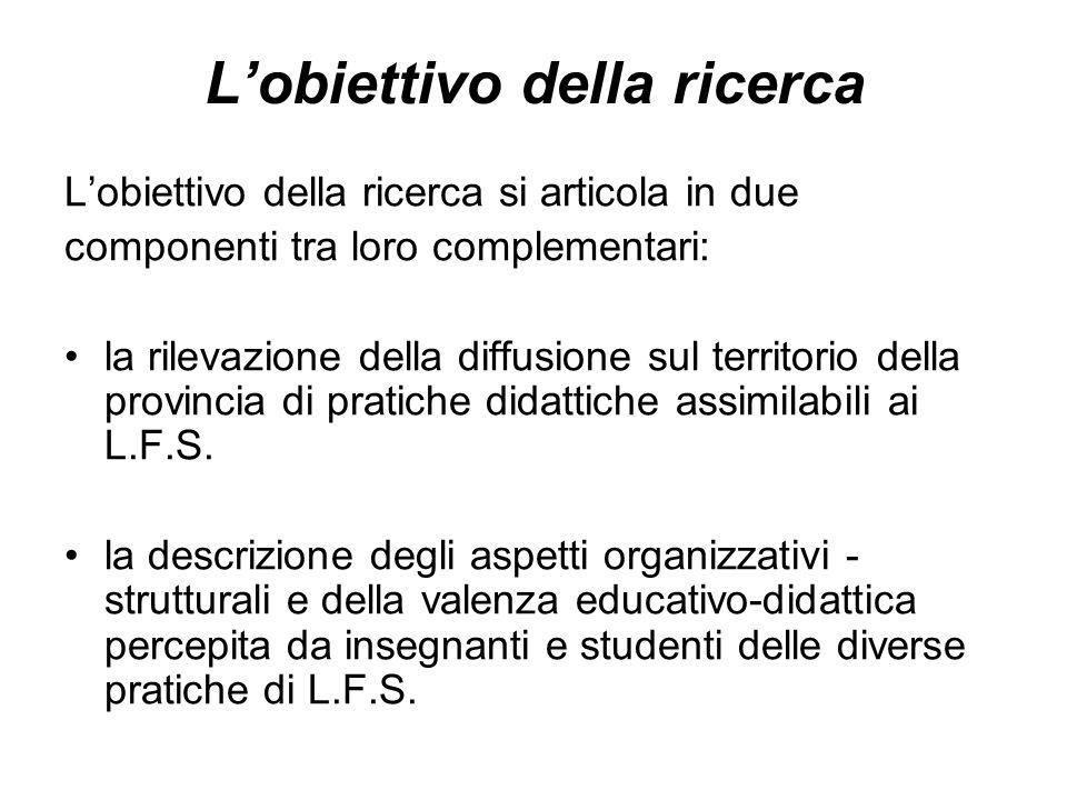 Lobiettivo della ricerca Lobiettivo della ricerca si articola in due componenti tra loro complementari: la rilevazione della diffusione sul territorio