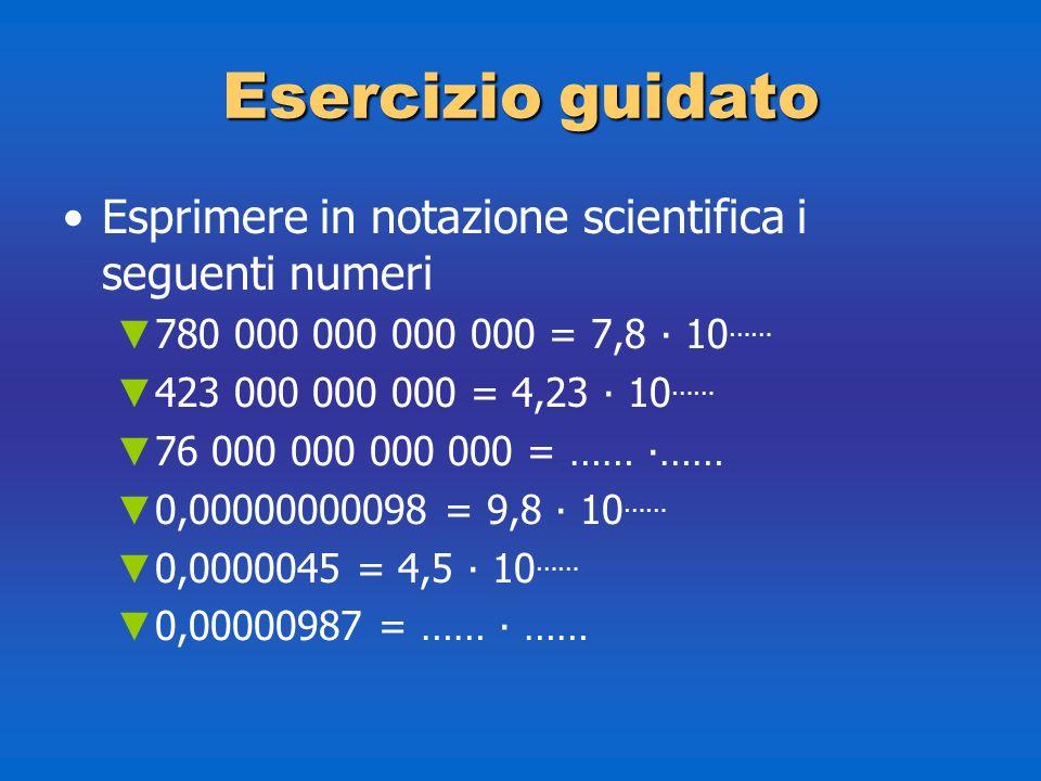 Esercizioguidato Esercizio guidato Esprimere in notazione scientifica i seguenti numeri 780 000 000 000 000 = 7,8 10 …… 423 000 000 000 = 4,23 10 …… 7
