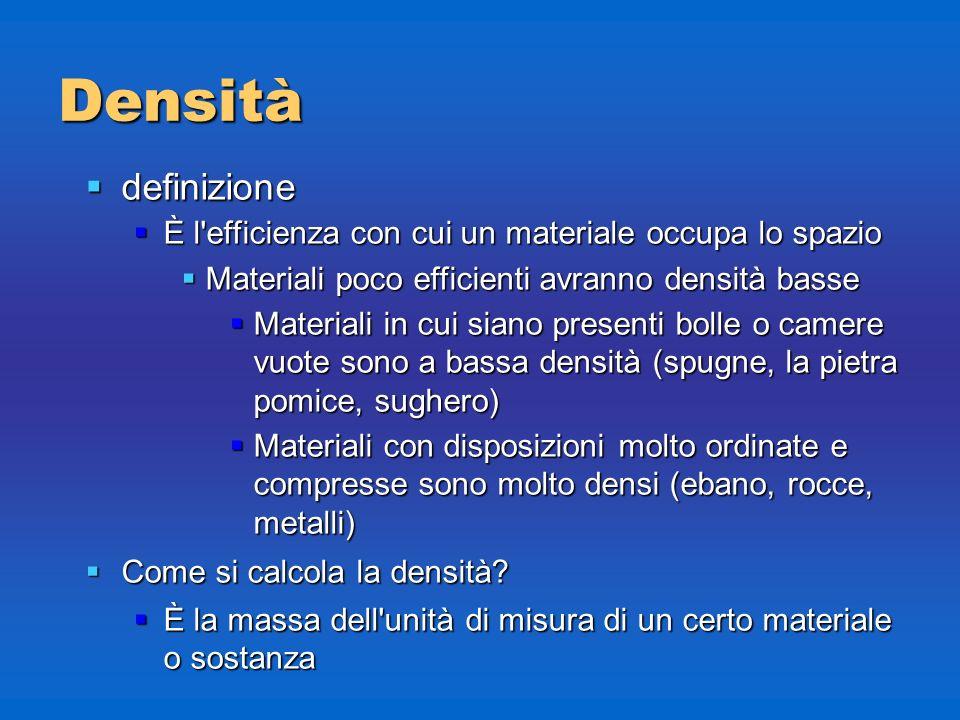 Densità definizione definizione È l'efficienza con cui un materiale occupa lo spazio È l'efficienza con cui un materiale occupa lo spazio Materiali po