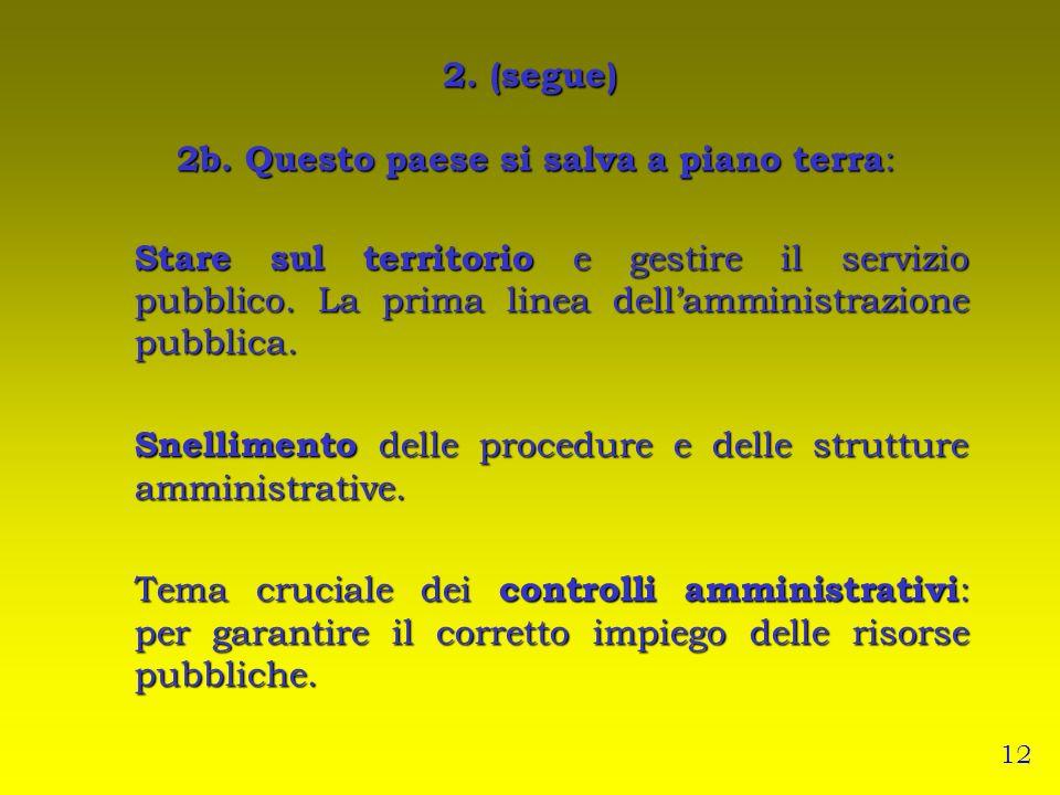 2. (segue) 2b. Questo paese si salva a piano terra : Stare sul territorio e gestire il servizio pubblico. La prima linea dellamministrazione pubblica.
