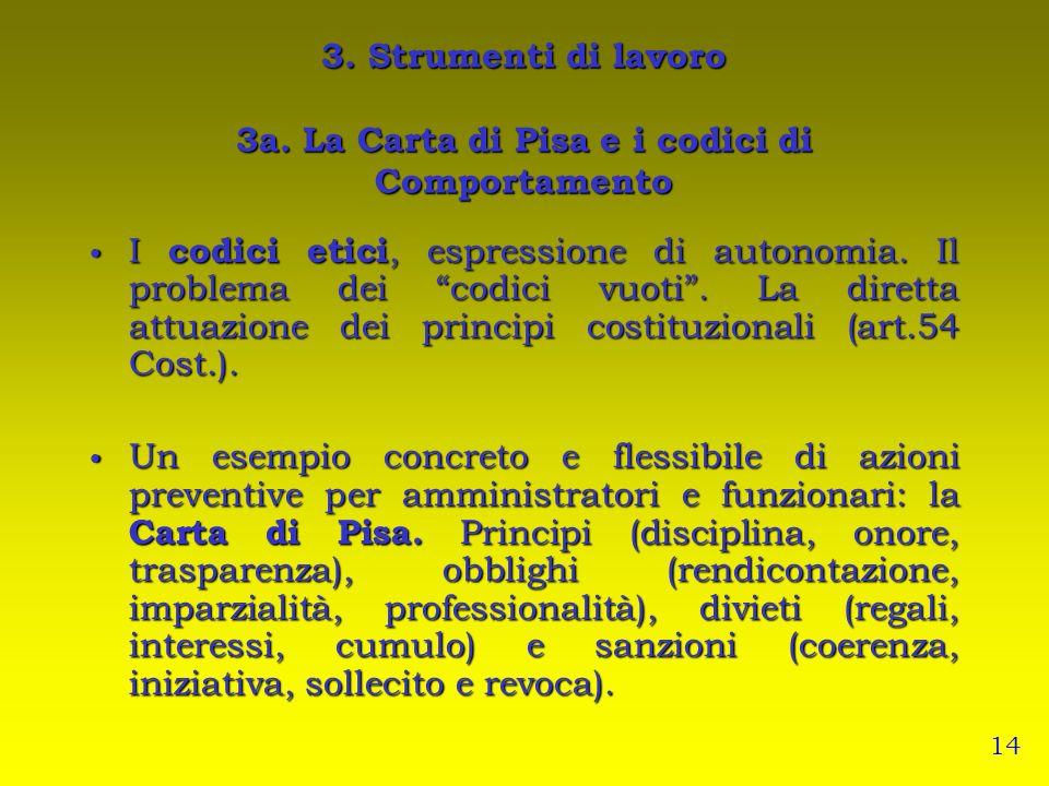 3. Strumenti di lavoro 3a. La Carta di Pisa e i codici di Comportamento I codici etici, espressione di autonomia. Il problema dei codici vuoti. La dir