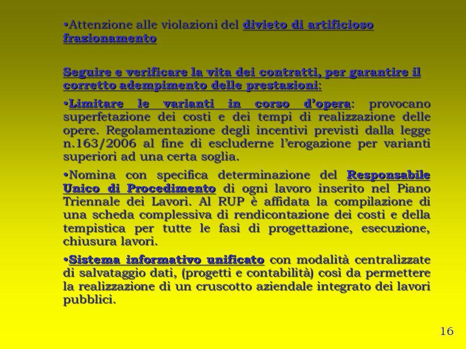 Attenzione alle violazioni del divieto di artificioso frazionamentoAttenzione alle violazioni del divieto di artificioso frazionamento Seguire e verif