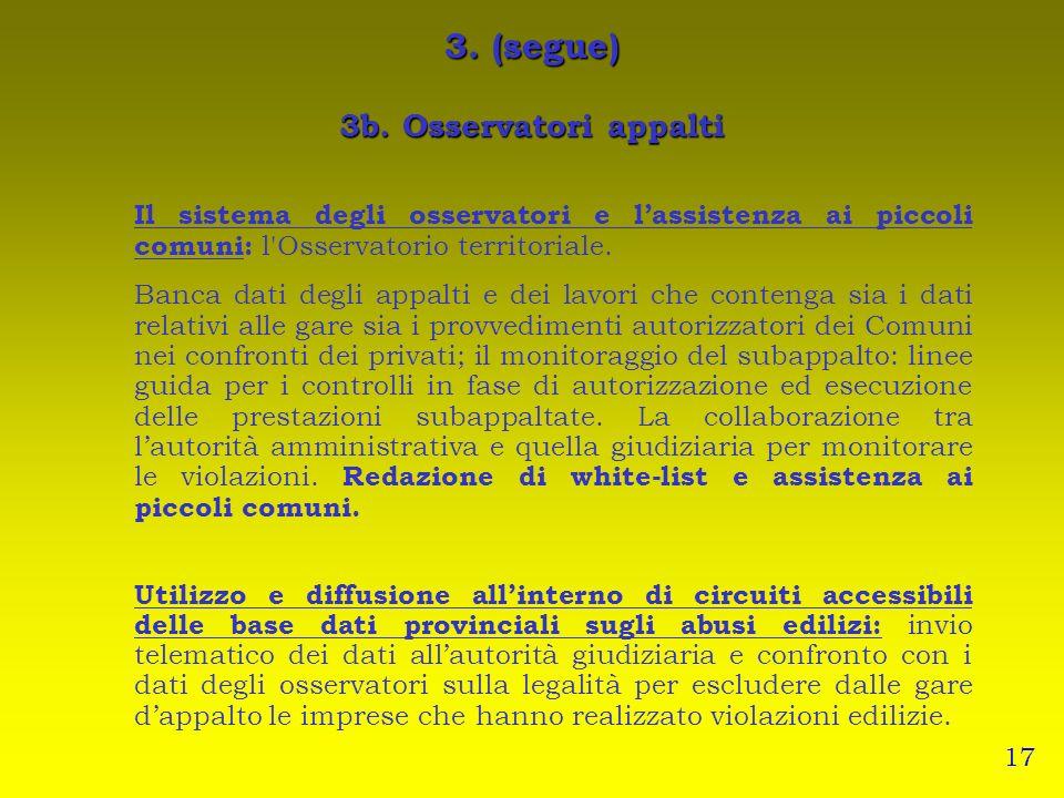 3. (segue) 3b. Osservatori appalti Il sistema degli osservatori e lassistenza ai piccoli comuni: l'Osservatorio territoriale. Banca dati degli appalti
