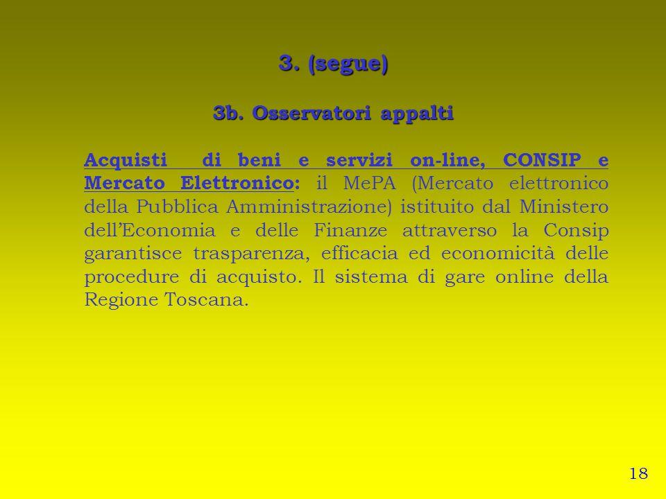 3. (segue) 3b. Osservatori appalti Acquisti di beni e servizi on-line, CONSIP e Mercato Elettronico: il MePA (Mercato elettronico della Pubblica Ammin