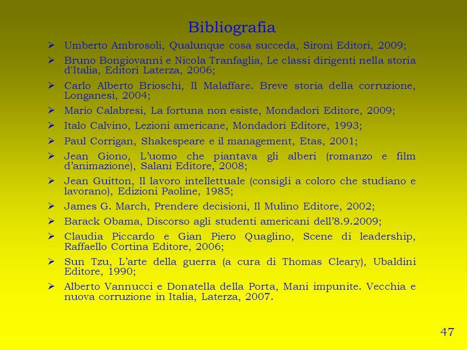 Bibliografia Umberto Ambrosoli, Qualunque cosa succeda, Sironi Editori, 2009; Bruno Bongiovanni e Nicola Tranfaglia, Le classi dirigenti nella storia