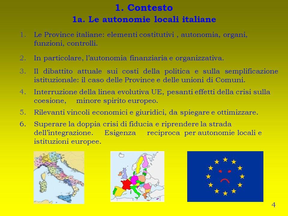 1. Contesto 1a. Le autonomie locali italiane 1.Le Province italiane: elementi costitutivi, autonomia, organi, funzioni, controlli. 2.In particolare, l