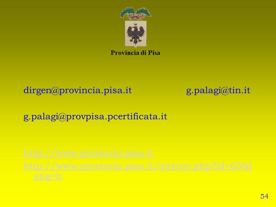 Provincia di Pisa dirgen@provincia.pisa.it g.palagi@tin.it g.palagi@provpisa.pcertificata.it http://www.provincia.pisa.it http://www.provincia.pisa.it/interno.php?id=63&l ang=it 54