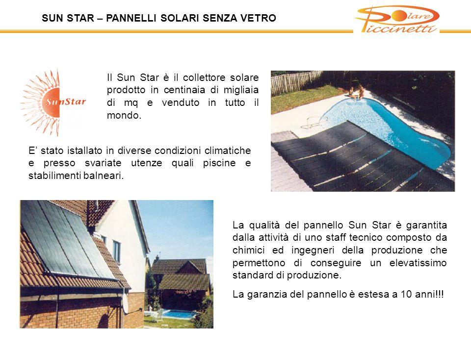 Il Sun Star è il collettore solare prodotto in centinaia di migliaia di mq e venduto in tutto il mondo.