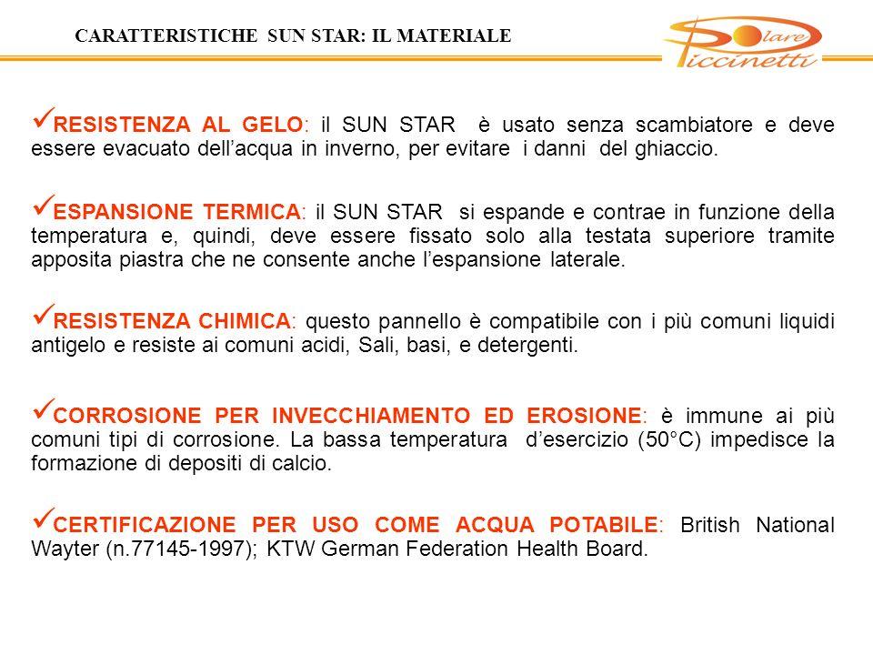 RESISTENZA AL GELO: il SUN STAR è usato senza scambiatore e deve essere evacuato dellacqua in inverno, per evitare i danni del ghiaccio.