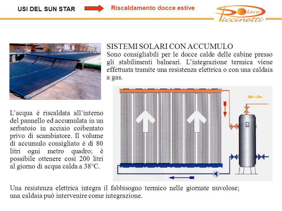 USI DEL SUN STAR Riscaldamento docce estive SISTEMI SOLARI CON ACCUMULO Sono consigliabili per le docce calde delle cabine presso gli stabilimenti balneari.