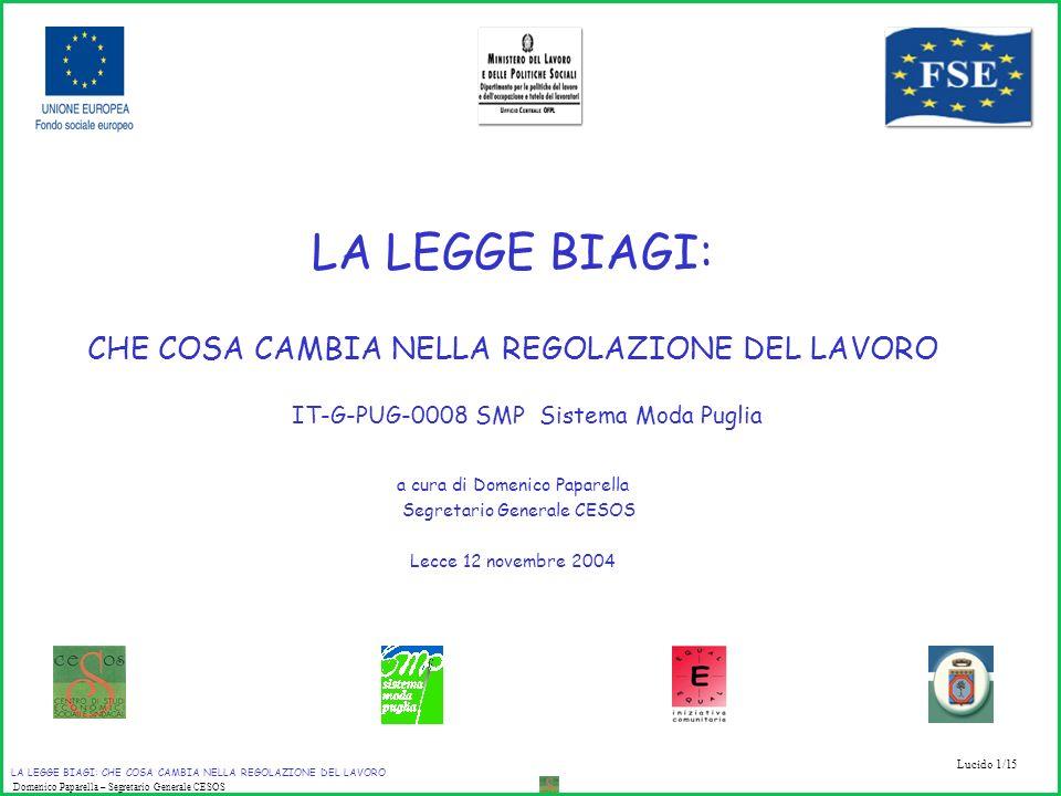 Lucido 1/15 LA LEGGE BIAGI: CHE COSA CAMBIA NELLA REGOLAZIONE DEL LAVORO Domenico Paparella – Segretario Generale CESOS LA LEGGE BIAGI: CHE COSA CAMBI