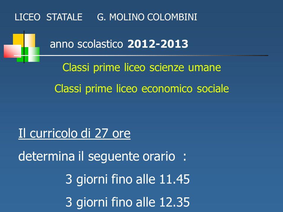anno scolastico 2012-2013 Classi prime liceo scienze umane Classi prime liceo economico sociale Il curricolo di 27 ore determina il seguente orario :