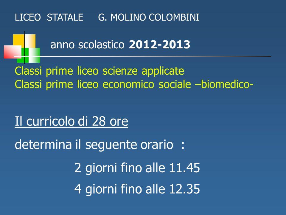 anno scolastico 2012-2013 Classi prime liceo scienze applicate Classi prime liceo economico sociale –biomedico- Il curricolo di 28 ore determina il se