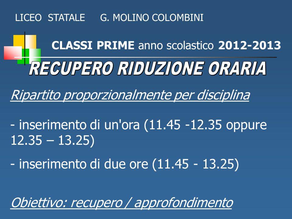 CLASSI PRIME anno scolastico 2012-2013 Ripartito proporzionalmente per disciplina - inserimento di un'ora (11.45 -12.35 oppure 12.35 – 13.25) - inseri