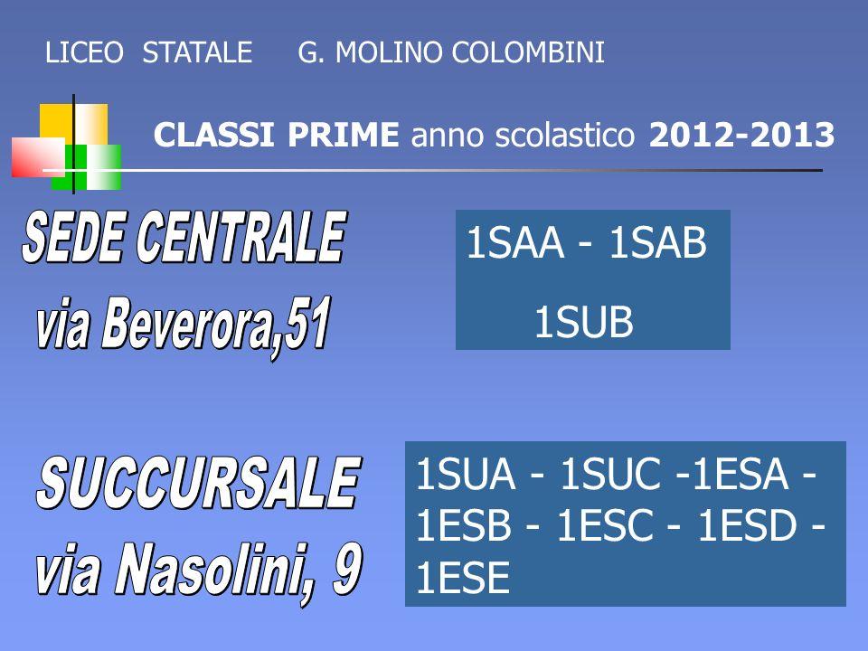 CLASSI PRIME anno scolastico 2012-2013 LICEO STATALE G. MOLINO COLOMBINI 1SAA - 1SAB 1SUB 1SUA - 1SUC -1ESA - 1ESB - 1ESC - 1ESD - 1ESE