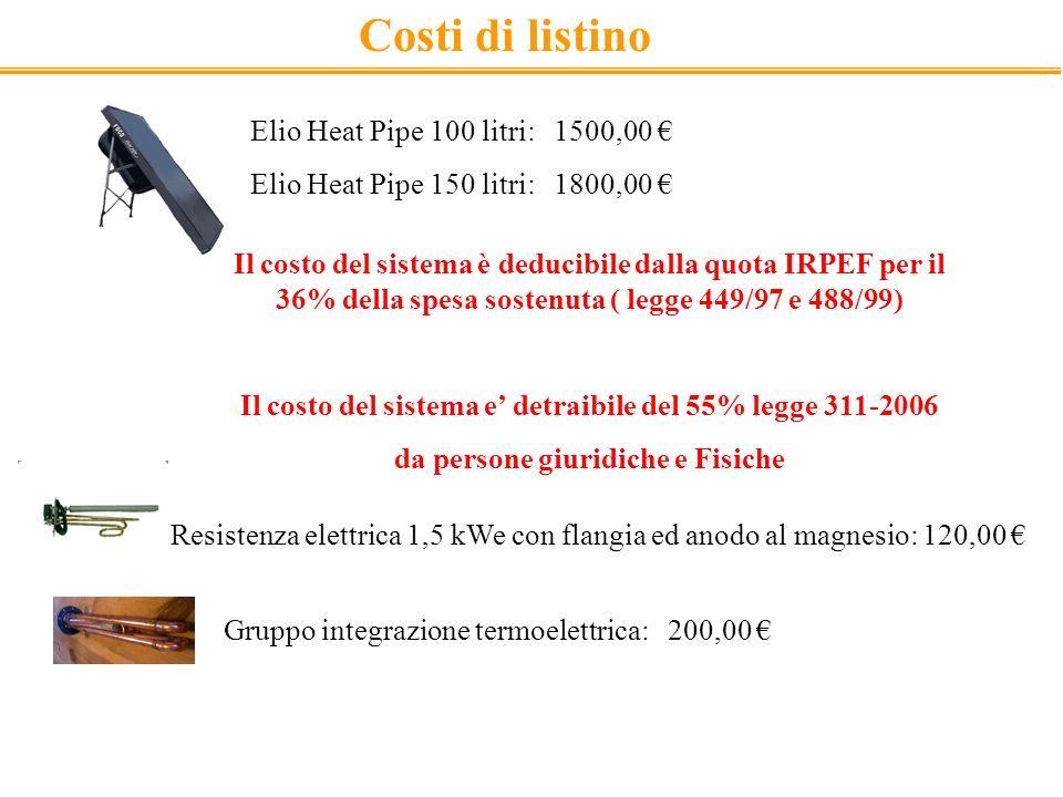 Costi di listino Elio Heat Pipe 100 litri: 1500,00 Elio Heat Pipe 150 litri: 1800,00 Gruppo integrazione termoelettrica: 200,00 Resistenza elettrica 1