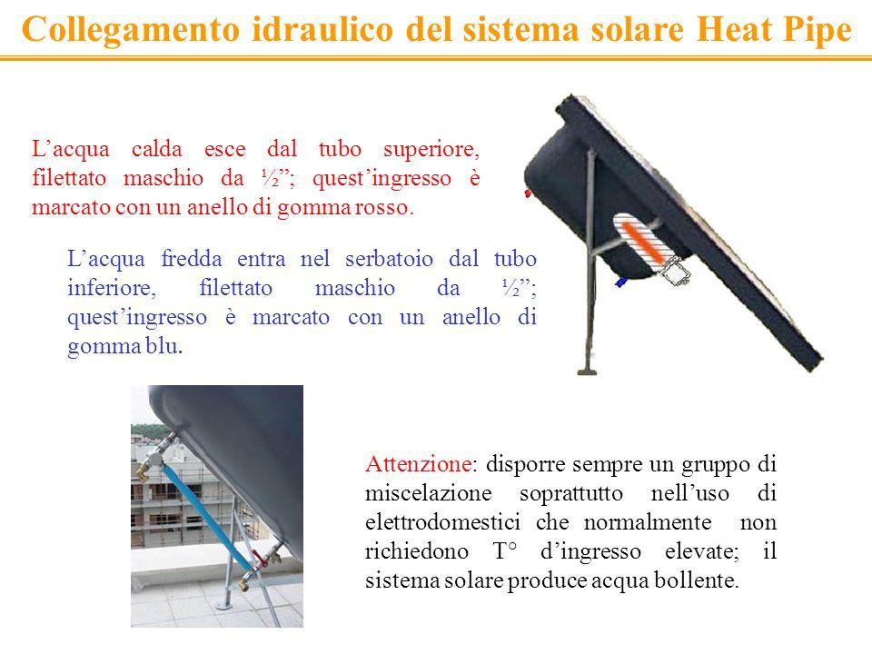Collegamento idraulico del sistema solare Heat Pipe Lacqua calda esce dal tubo superiore, filettato maschio da ½; questingresso è marcato con un anell