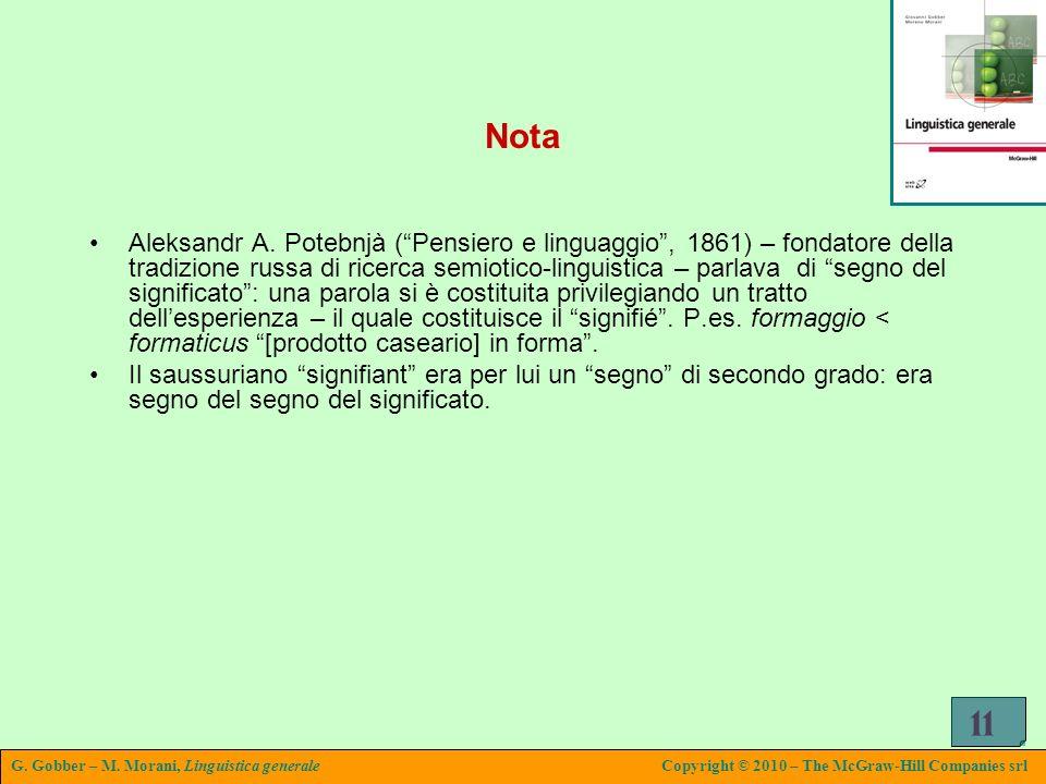 G. Gobber – M. Morani, Linguistica generaleCopyright © 2010 – The McGraw-Hill Companies srl 11 Nota Aleksandr A. Potebnjà (Pensiero e linguaggio, 1861