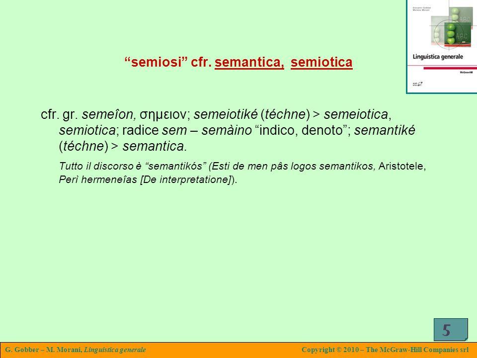 G. Gobber – M. Morani, Linguistica generaleCopyright © 2010 – The McGraw-Hill Companies srl 5 semiosi cfr. semantica, semiotica cfr. gr. semeîon, σημε