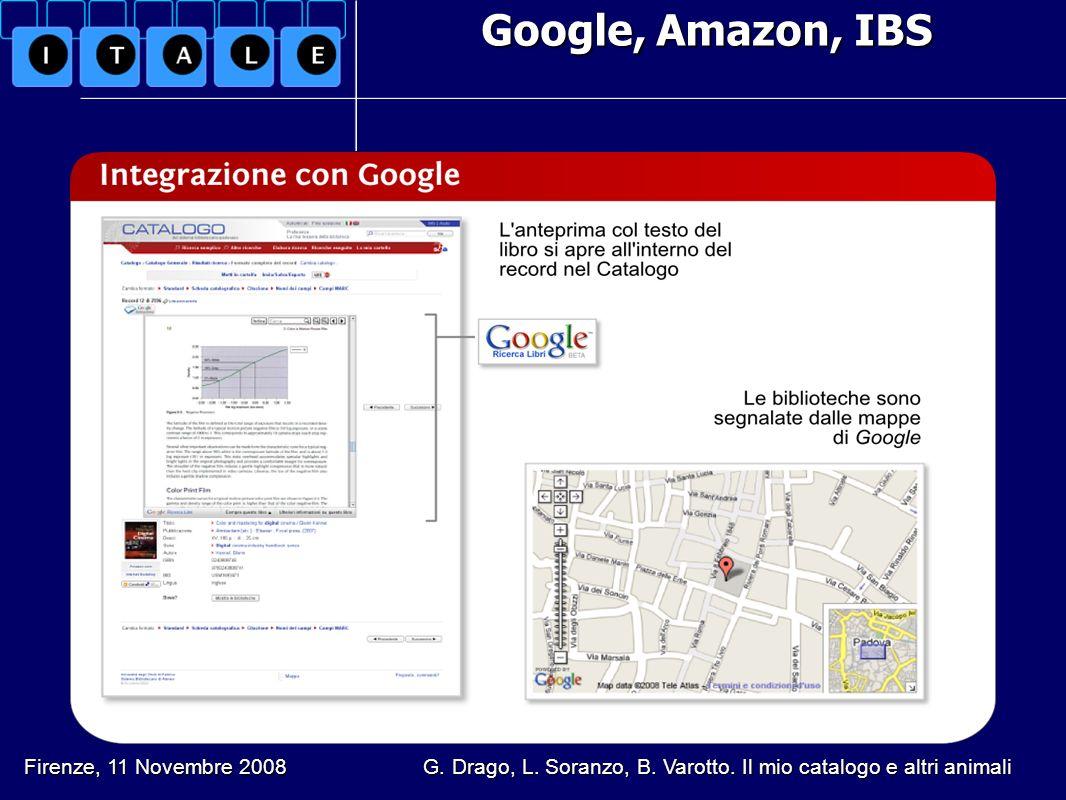 Google, Amazon, IBS Firenze, 11 Novembre 2008 G. Drago, L. Soranzo, B. Varotto. Il mio catalogo e altri animali