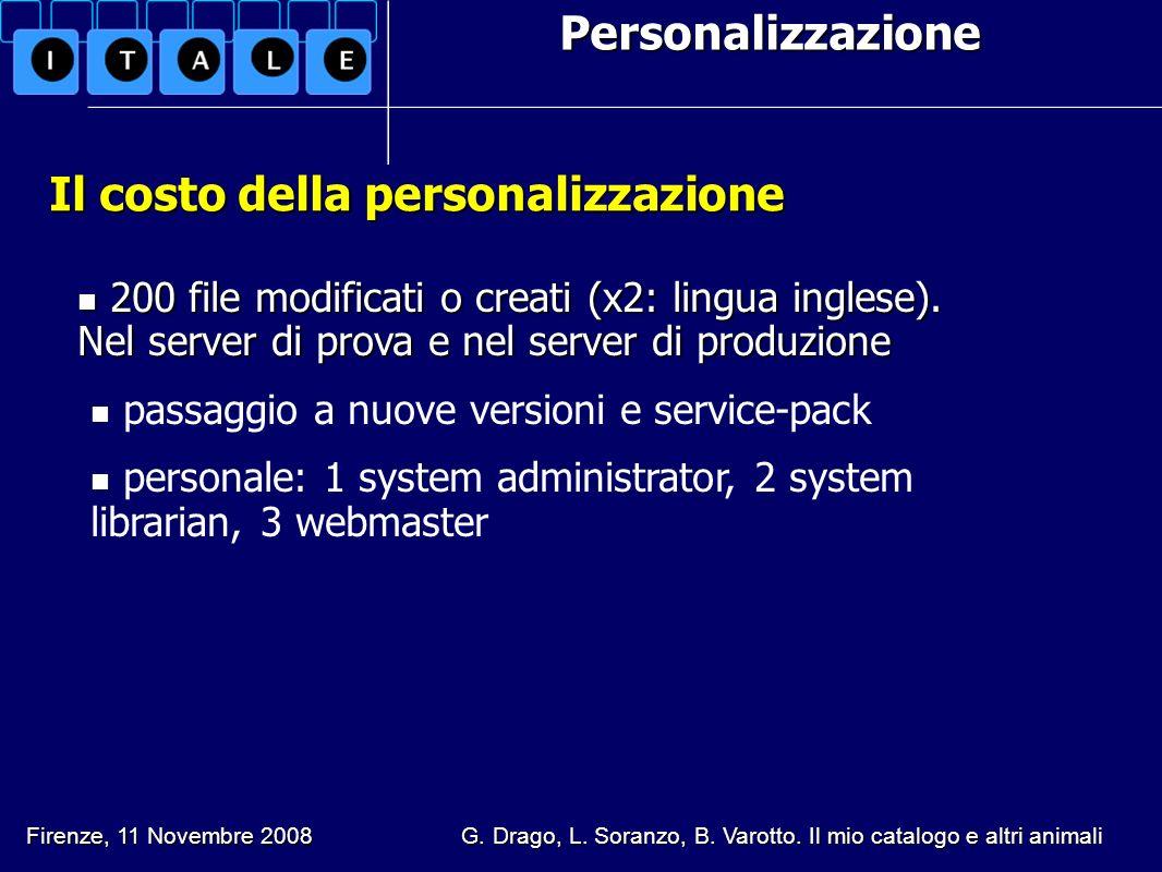 Personalizzazione Il costo della personalizzazione Firenze, 11 Novembre 2008 G. Drago, L. Soranzo, B. Varotto. Il mio catalogo e altri animali 200 fil