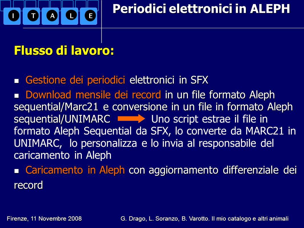Periodici elettronici in ALEPH Flusso di lavoro: Gestione dei periodici elettronici in SFX Gestione dei periodici elettronici in SFX Download mensile