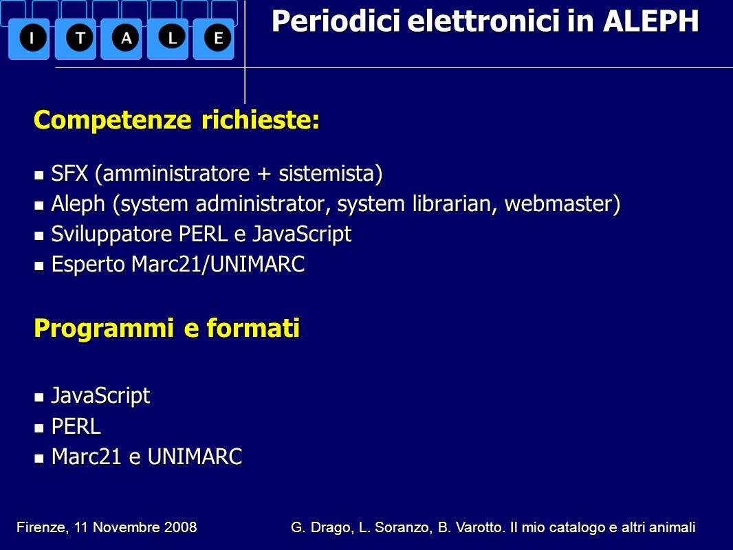 Periodici elettronici in ALEPH Competenze richieste: SFX (amministratore + sistemista) SFX (amministratore + sistemista) Aleph (system administrator,