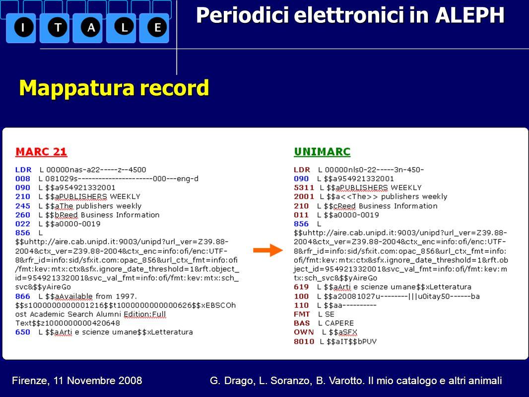 Periodici elettronici in ALEPH Mappatura record Firenze, 11 Novembre 2008 G. Drago, L. Soranzo, B. Varotto. Il mio catalogo e altri animali