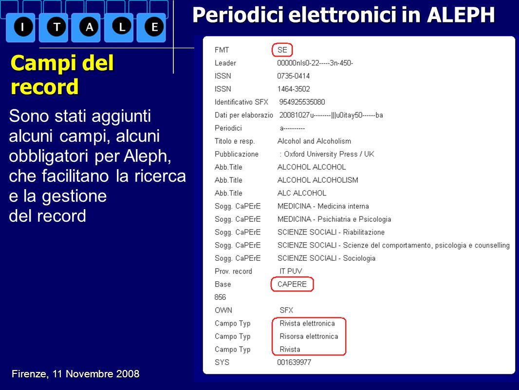 Periodici elettronici in ALEPH Campi del record Sono stati aggiunti alcuni campi, alcuni obbligatori per Aleph, che facilitano la ricerca e la gestion