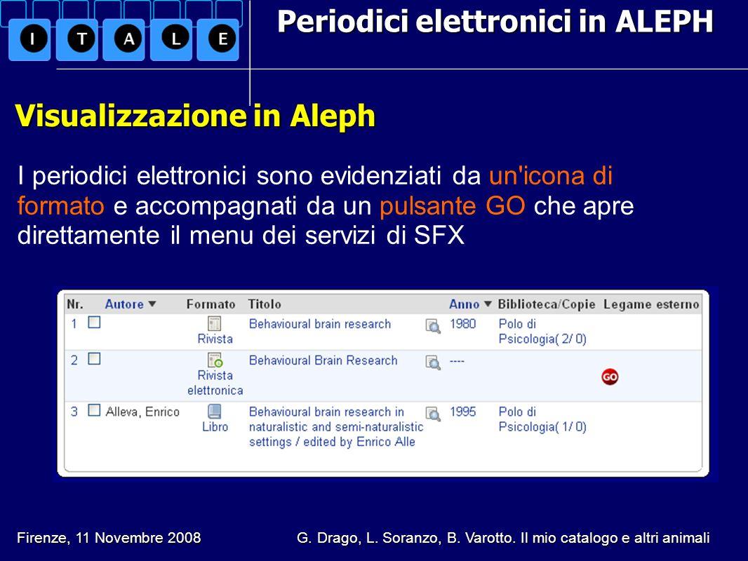 Periodici elettronici in ALEPH Visualizzazione in Aleph Visualizzazione in Aleph I periodici elettronici sono evidenziati da un'icona di formato e acc