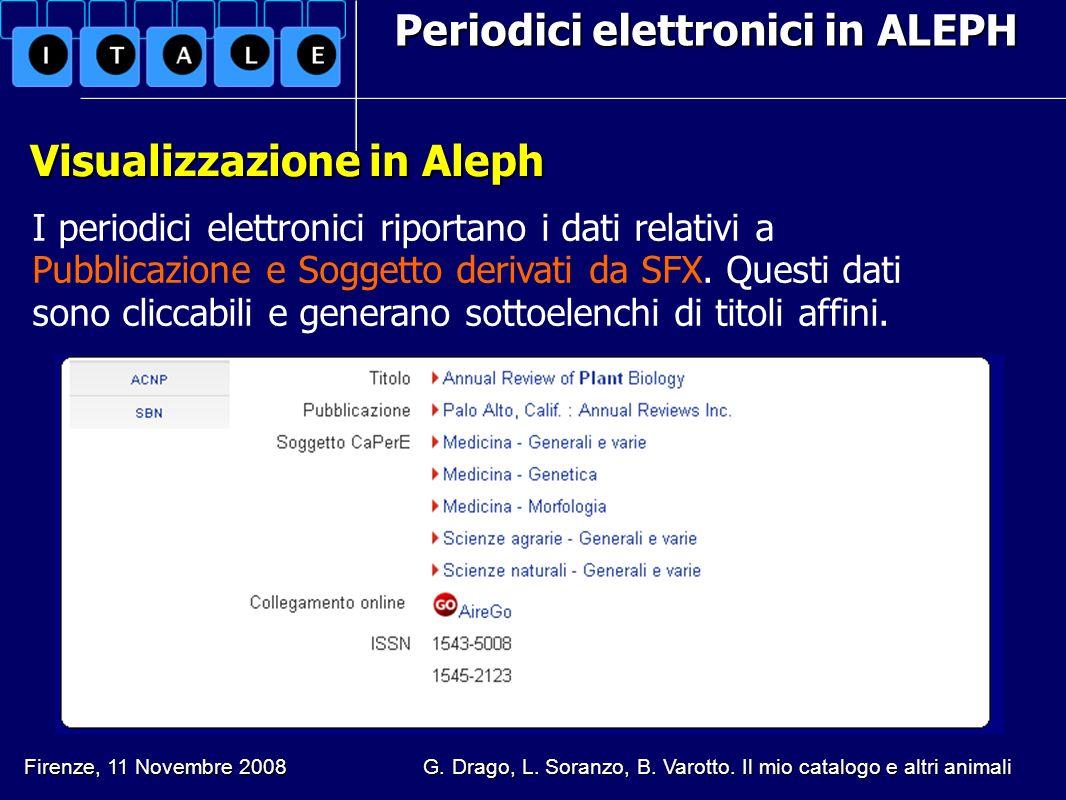 Periodici elettronici in ALEPH Visualizzazione in Aleph Visualizzazione in Aleph I periodici elettronici riportano i dati relativi a Pubblicazione e S