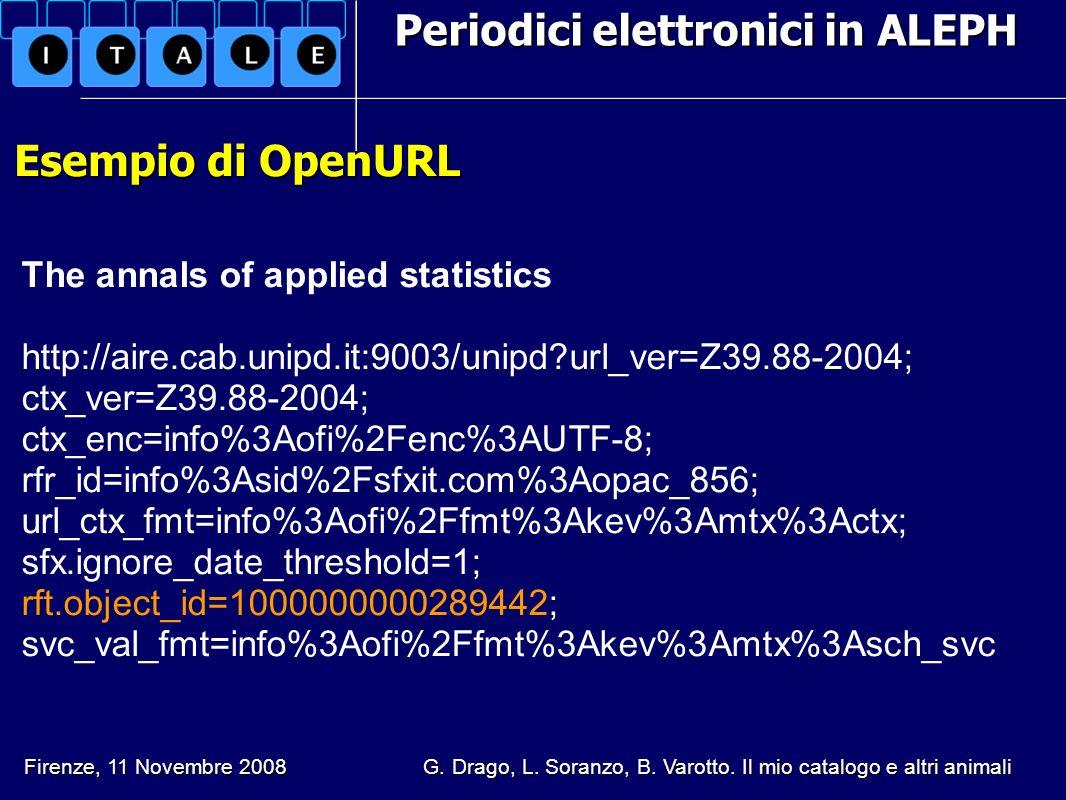 Periodici elettronici in ALEPH Esempio di OpenURL Esempio di OpenURL The annals of applied statistics http://aire.cab.unipd.it:9003/unipd?url_ver=Z39.