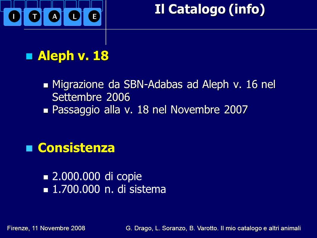 Il Catalogo (info) Aleph v. 18 Aleph v. 18 Migrazione da SBN-Adabas ad Aleph v. 16 nel Settembre 2006 Migrazione da SBN-Adabas ad Aleph v. 16 nel Sett
