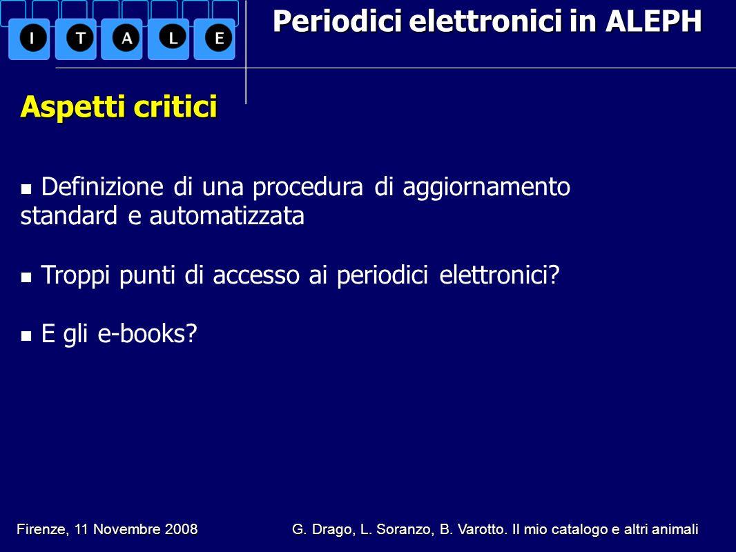 Periodici elettronici in ALEPH Aspetti critici Definizione di una procedura di aggiornamento standard e automatizzata Troppi punti di accesso ai perio