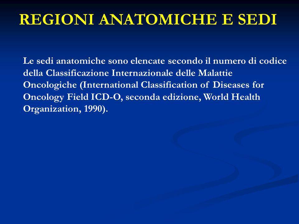 REGIONI ANATOMICHE E SEDI Le sedi anatomiche sono elencate secondo il numero di codice della Classificazione Internazionale delle Malattie Oncologiche