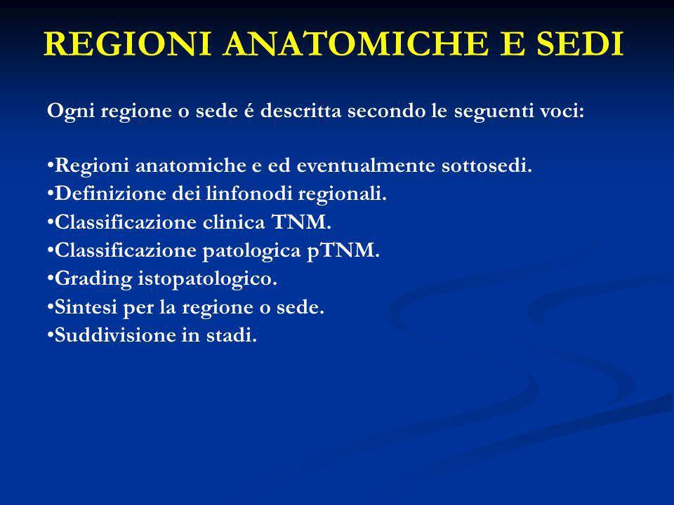 REGIONI ANATOMICHE E SEDI Ogni regione o sede é descritta secondo le seguenti voci: Regioni anatomiche e ed eventualmente sottosedi. Definizione dei l