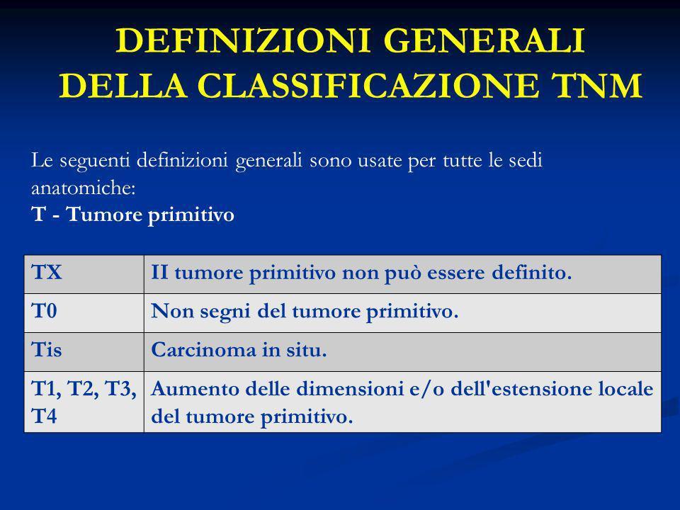 DEFINIZIONI GENERALI DELLA CLASSIFICAZIONE TNM Le seguenti definizioni generali sono usate per tutte le sedi anatomiche: T - Tumore primitivo TXII tum