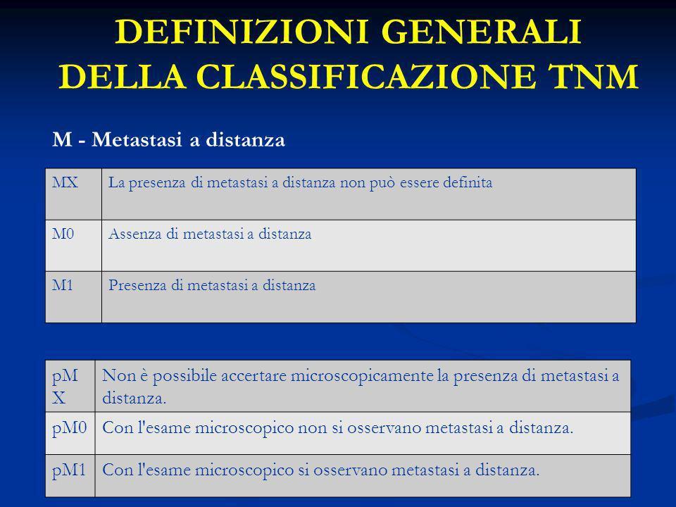 DEFINIZIONI GENERALI DELLA CLASSIFICAZIONE TNM M - Metastasi a distanza MXLa presenza di metastasi a distanza non può essere definita M0Assenza di met