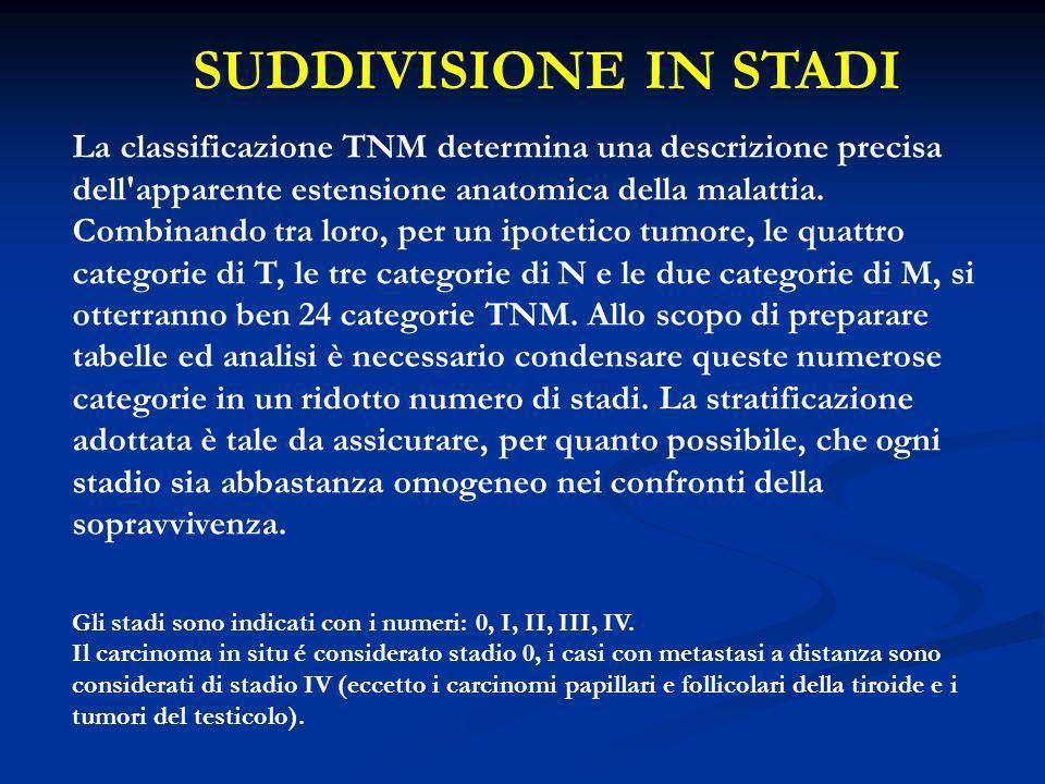 SUDDIVISIONE IN STADI La classificazione TNM determina una descrizione precisa dell'apparente estensione anatomica della malattia. Combinando tra loro
