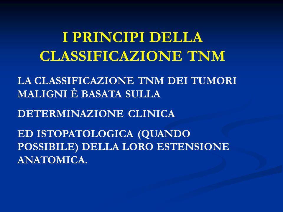 I PRINCIPI DELLA CLASSIFICAZIONE TNM LA CLASSIFICAZIONE TNM DEI TUMORI MALIGNI È BASATA SULLA DETERMINAZIONE CLINICA ED ISTOPATOLOGICA (QUANDO POSSIBI