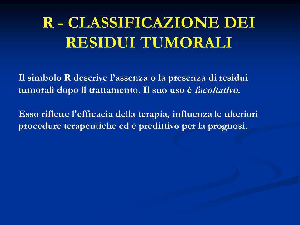 R - CLASSIFICAZIONE DEI RESIDUI TUMORALI Il simbolo R descrive lassenza o la presenza di residui tumorali dopo il trattamento. Il suo uso è facoltativ
