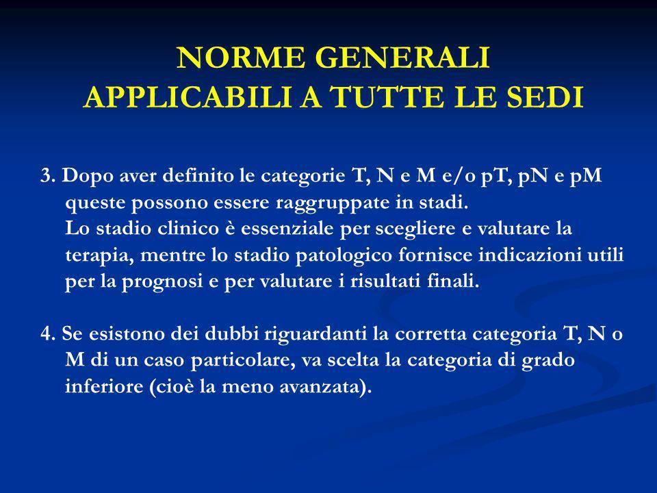 NORME GENERALI APPLICABILI A TUTTE LE SEDI 3. Dopo aver definito le categorie T, N e M e/o pT, pN e pM queste possono essere raggruppate in stadi. Lo