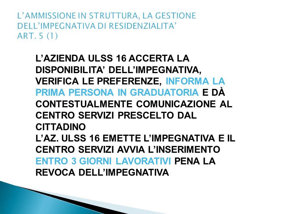 LAMMISSIONE IN STRUTTURA, LA GESTIONE DELLIMPEGNATIVA DI RESIDENZIALITA ART. 5 (1) LAZIENDA ULSS 16 ACCERTA LA DISPONIBILITA DELLIMPEGNATIVA, VERIFICA