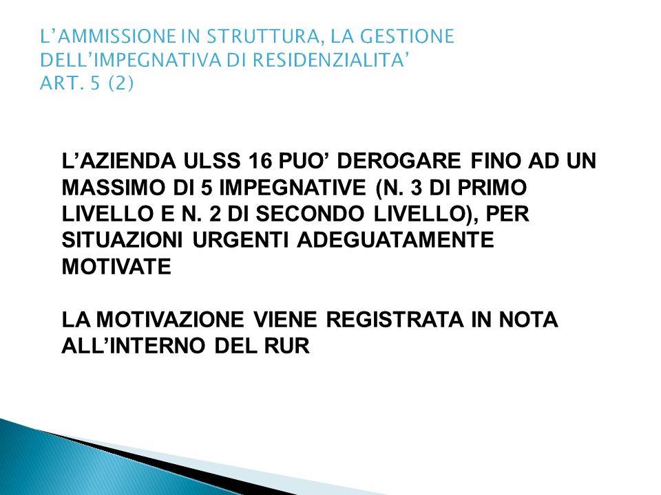 LAMMISSIONE IN STRUTTURA, LA GESTIONE DELLIMPEGNATIVA DI RESIDENZIALITA ART. 5 (2) LAZIENDA ULSS 16 PUO DEROGARE FINO AD UN MASSIMO DI 5 IMPEGNATIVE (