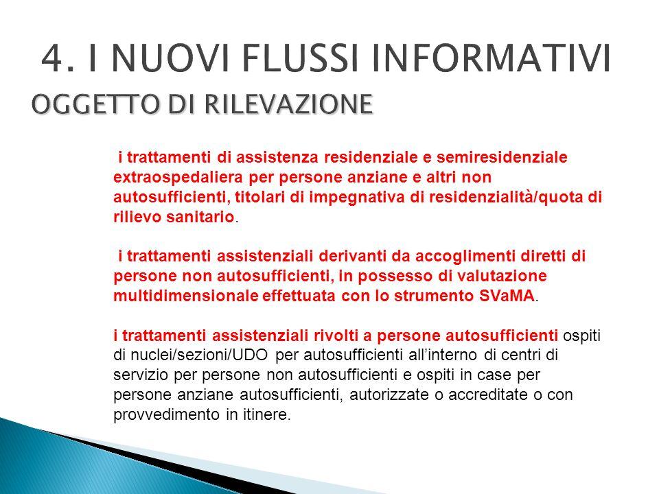 OGGETTO DI RILEVAZIONE 4. I NUOVI FLUSSI INFORMATIVI i trattamenti di assistenza residenziale e semiresidenziale extraospedaliera per persone anziane