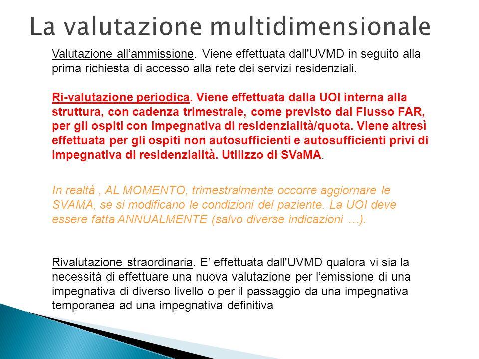 La valutazione multidimensionale Valutazione allammissione. Viene effettuata dall'UVMD in seguito alla prima richiesta di accesso alla rete dei serviz