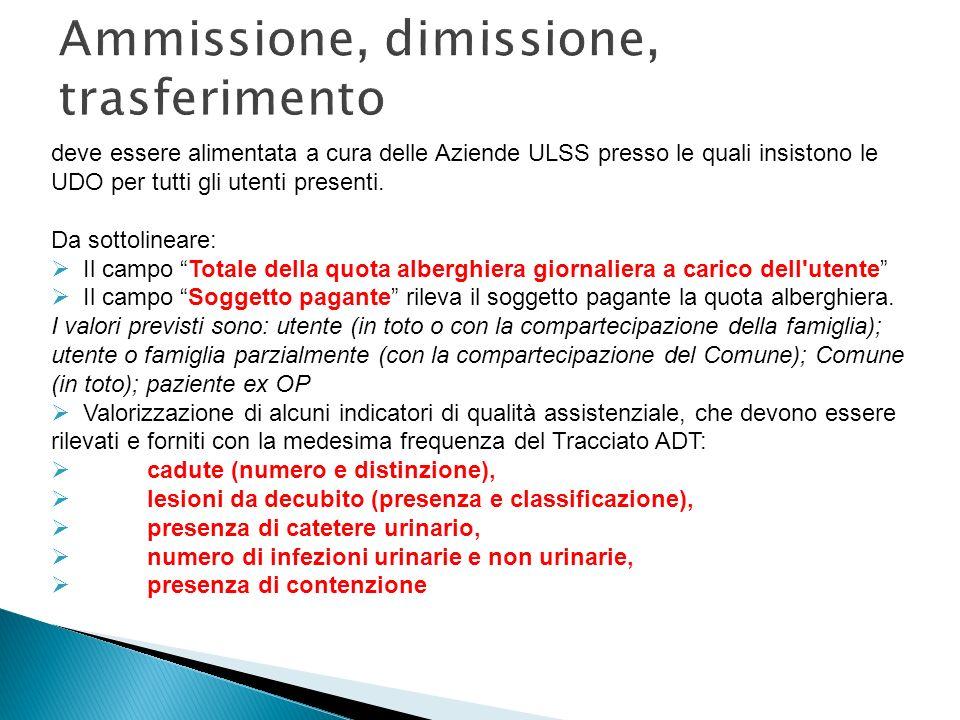Ammissione, dimissione, trasferimento deve essere alimentata a cura delle Aziende ULSS presso le quali insistono le UDO per tutti gli utenti presenti.