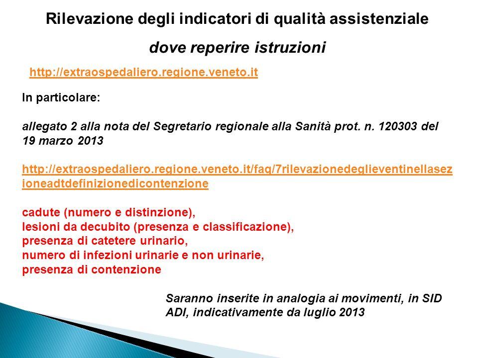 Rilevazione degli indicatori di qualità assistenziale dove reperire istruzioni http://extraospedaliero.regione.veneto.it In particolare: allegato 2 al