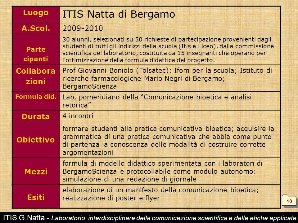 ITIS G.Natta - Laboratorio interdisciplinare della comunicazione scientifica e delle etiche applicate Luogo ITIS Natta di Bergamo A.Scol.2009-2010 Par
